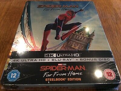 SPIDERMAN - FAR FROM HOME, FACTORY SEALED 4k & BLU RAY STEELBOOK. MARVEL.