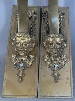 (2) Antique ART NOUVEAU Statue BRONZE HORNED GOD BUST Old FIGURAL WALL SCONCE