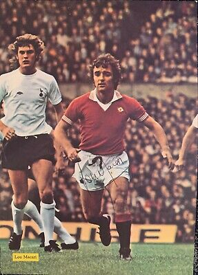 Signed Lou Macari Manchester United FC England Football Autograph Poster 1970s