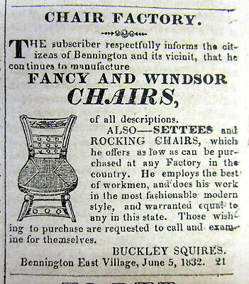 1832 BENNINGTON Vermont newspaper w detailed ILLUSTRATED AD for WINDSOR CHAIRS