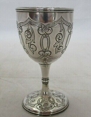 Antique Victorian Sterling silver embossed goblet, 1864, 70 grams