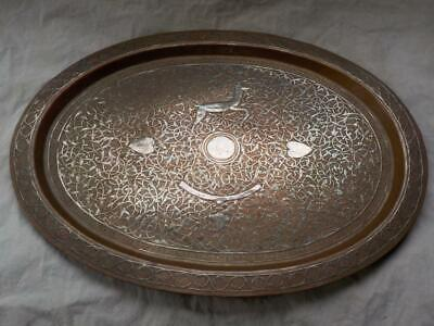 Antique Silver On Copper Persian Qajar Tray With Antelope, Torc,11 Names On Back