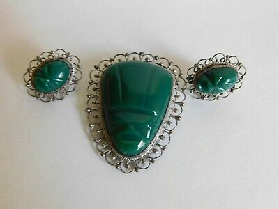 Vintage Mexico Sterling Silver Carved Jade Green Onyx Mayan Mask Pin & Earrings