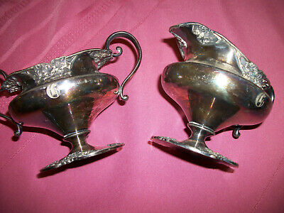 Antique 2pc Silver plated s Creamer+sugar bowl