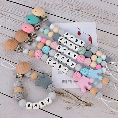 Personalised Custom Wooden Silicone Beads Baby Dummy Pacifier Chain Clips Holder