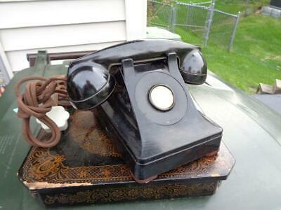 Vintage Bell System Telephone Black Desk  no Rotary Cloth Cord