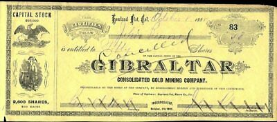 Gibraltar Consolidated Gold Mining Co, Howlad Flat, Calif, 1888, Cancelled Stock