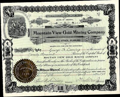 Mountain View Gold Mining Co Of Arizona, 1898, Uncancelled Stock Certificate