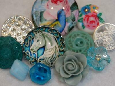 GORGEOUS AQUA VINTAGE & NEW BUTTONS Cameos Rhinestone Pierced Flower Glass +