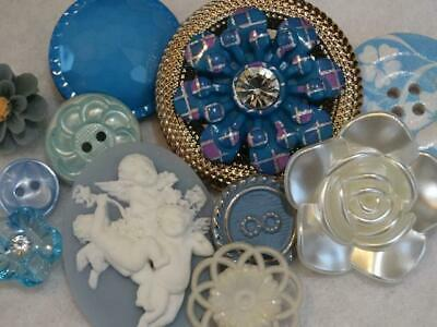 AMAZING BLUE & WHITE VINTAGE & NEW BUTTONS Cameo Angels Flowers Rhinestone Metal