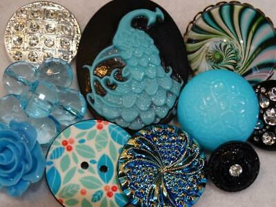 TURQUOISE BLACK VINTAGE & NEW BUTTONS Cameo Peacock Rhinestone Bohemian Glass +