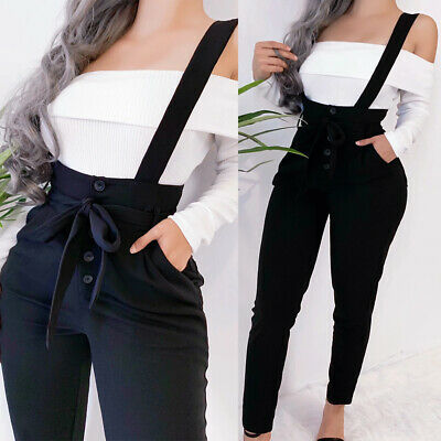 Womens Ladies Skinny Overall Dungarees High Waist Romper Jumpsuit Pants Trousers