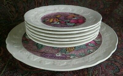 Gien France Les Delices Cake Plate Platter with Six (6) Dessert Plates