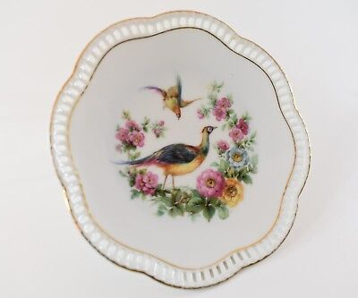 Antique German Pheasant Bird Plate, Early 1900s China Porcelain Decorative Plate