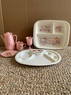Sanrio Hello Kitty Plastic mini tray & Tea Set Lot  Japan