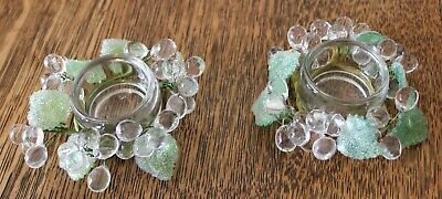 Vintage 2000 Roman, Inc Set Of Clear Glass Candle Holders W/ Frosted Green Leave