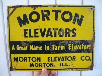 SCARCE Vintage MORTON ILL. Advertising Tin Sign MORTON ELEVATORS - Farm Elevator