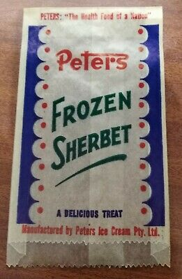 """Vintage Peters Ice Cream Frozen Sherbet wrapper """"The Health Food of a Nation"""""""