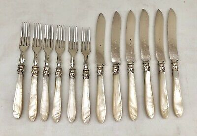 Antique Lot of 6 Knives & Forks by JOHN ROUND & Son MOP Mother of Pearl Fish Set