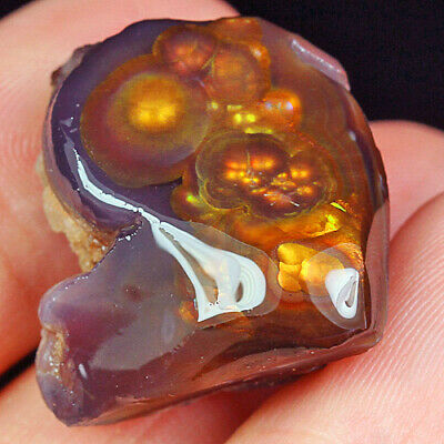 35.7Ct 100% Natural Mexican Multi-Colored Fire Agate Facet Rough YFM1819