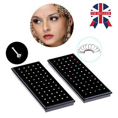 BOX OF 20/60 SURGICAL STEEL SILVER NOSE STUDS 1mm CRYSTAL GEM BAR BODY GIFT