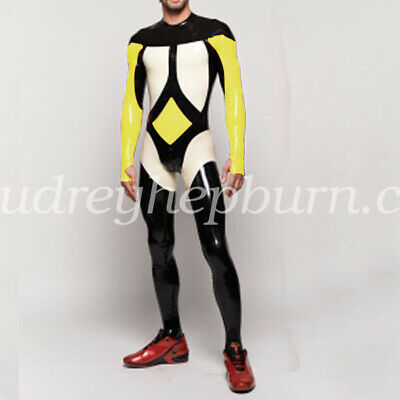 Cool 100%Latex Rubber Gummi Men Handsame Kostüm Ganzanzug Bodysuit Suit S-XXL