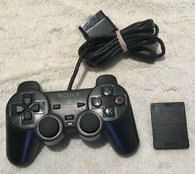 Sony Dual Shock 2 Official Wired  Playstation PS2 Controller+ 8 Mb Memory Card .