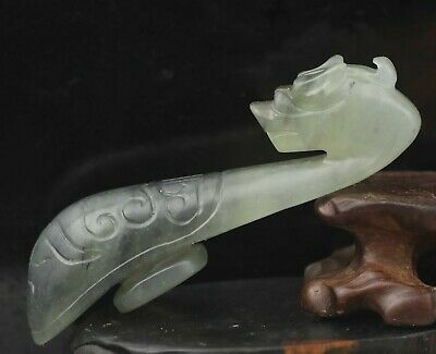 Chinese old natural jade hand-carved dragon pendant 3.4 inch