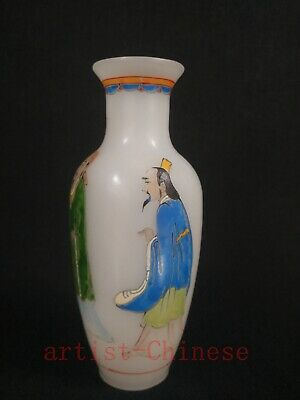 Collected China Old Coloured Glaze Manual Painting People Lad Vases Decoration