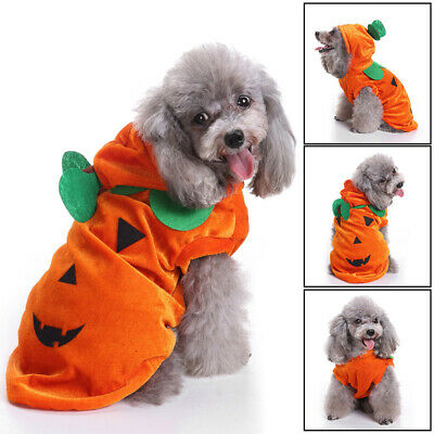 Pet Halloween Clothes Dog Costume Fashion Draping Pumpkin Pattern Jacket Coat UK