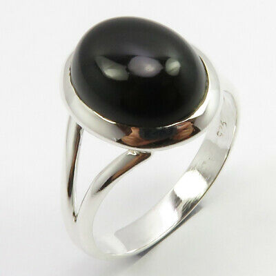 Solid Sterling Silver Real Black Onyx Ring Size 7.5 Women Fashion Jewelry