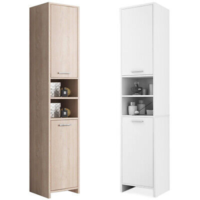 Bathroom Cupboard Tall Cabinet Furniture Large Tallboy Storage Unit White/Oak UK
