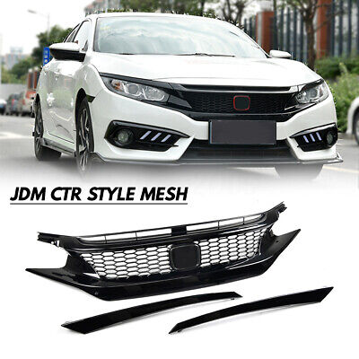 For Honda Civic 2016-18 10Th Gen Jdm Ctr Style Glossy Blk Mesh Front Hood Grille