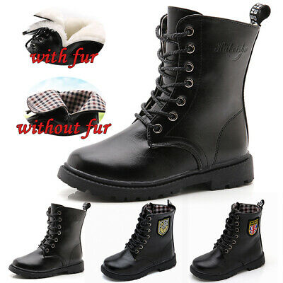 UK Kids Ankle Boots Boys Girls Childrens Fur Lined Classic Martin Chelsea Shoes