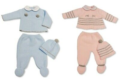 Baby Boys Girls Blue Pink Spanish Knitted Outfit 3 Piece Set Top Pants Hat 22 29