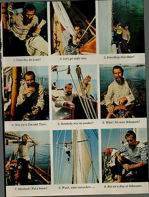 1956 Schweppes Soda Man On Boat Glass in Hand Vintage Print Ad 2659