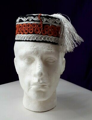 """Vintage Mens Smoking Cap. Moroccan, Embroidered, with White Tassel. 22""""/ 56 cms"""