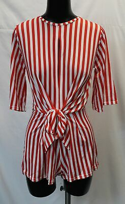 Boohoo Women's Tolly Twist Front Stripe Playsuit LP7 Red Size US:6 UK:10 NWT