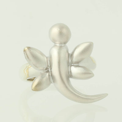 Devata Sweet Dragonfly Bamboo Sterling Silver 925 Ring 18K Gold Wings DBM5671