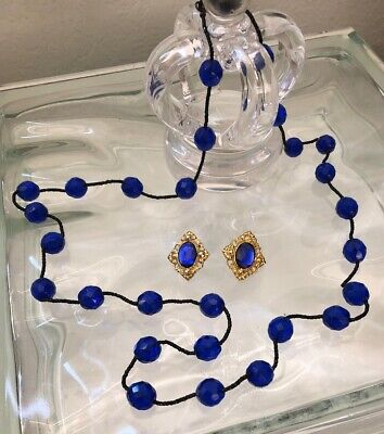 "Beautiful Cobalt Blue Crystal Glass Bead 34"" Necklace Gunmetal Seed Beads Er Lot"