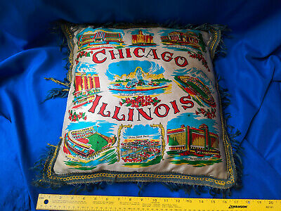 Antique Chicago,Illinois Souvenir Pillow Wrigley Field Cubs Soldiers Field Bears