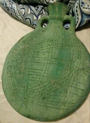 ANTIQUE GREEN POTTERY EGYPTIAN FLASK SIGNED RICH COLOR 13in TALL