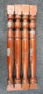 """Lot of 4 Pine Victorian Wood Stair Porch Spindles Balusters Antique 23 1/2"""" high"""