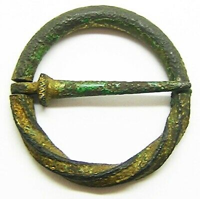 13th - 14th century AD  intact Medieval English gold gilded bronze ring brooch