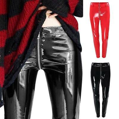 Women's Low Rise Leather Skinny Jeans Ladies Slim Zipper Trousers Perfect Fit