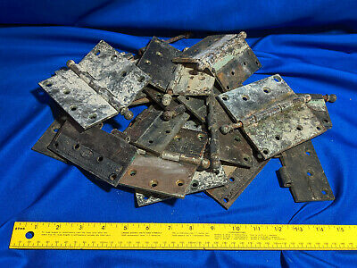 Huge Lot Antique Heavy Cast Metal Brass Door Hinge Corbin 4.5 Parts Hardware