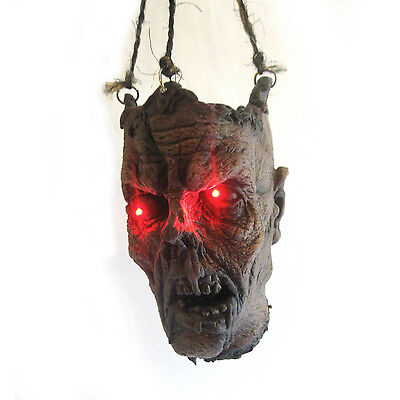 Life-size Lighted Eyes Zombie Head Hanging Halloween Party Haunted House Prop