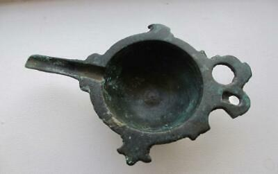 Rare Late Roman 4Th Century Byzantine Bronze Oil Lamp Filler