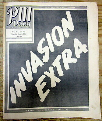 6-6-1944 WW II hdln newspaper ALLIES INVADE NORMANDY France D-DAY INVASION begin