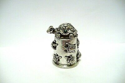 Thimble Pewter Comstock Topper Of A Turtle W/Green Crystals & More On Tthe Base
